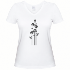 Женская футболка с V-образным вырезом 3 розы