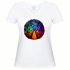 Жіноча футболка з V-подібним вирізом Абстракция