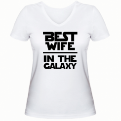 Купити Жіноча футболка з V-подібним вирізом Best wife in the Galaxy