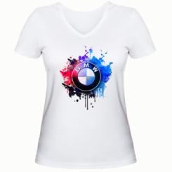 Жіноча футболка з V-подібним вирізом BMW logo art 2