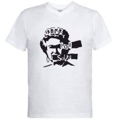 Чоловічі футболки з V-подібним вирізом Боже, бережи королеву!