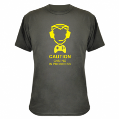 Камуфляжна футболка Caution! Gaming in progress