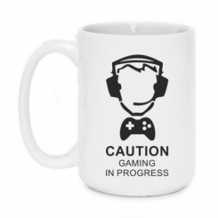 Кружка 420ml Caution! Gaming in progress