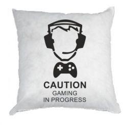 Подушка Caution! Gaming in progress