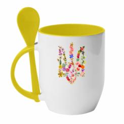 Кружка з керамічною ложкою Квітучий герб