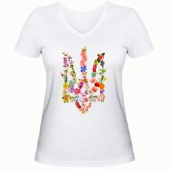 Жіноча футболка з V-подібним вирізом Квітучий герб