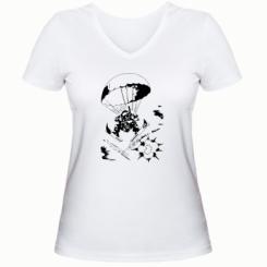 Купити Жіноча футболка з V-подібним вирізом Десантник
