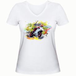 Жіноча футболка з V-подібним вирізом Ducati Art