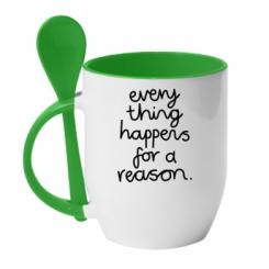 Кружка з керамічною ложкою Everything happens for a reason