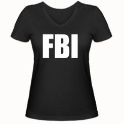 Купити Жіноча футболка з V-подібним вирізом FBI (ФБР)