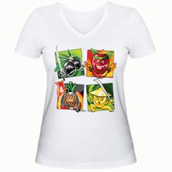 Жіноча футболка з V-подібним вирізом Fruit Ninja