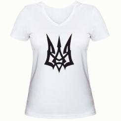 Купити Жіноча футболка з V-подібним вирізом Герб України новий
