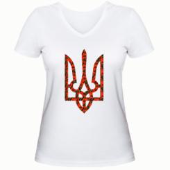Купити Жіноча футболка з V-подібним вирізом Герб України з маками