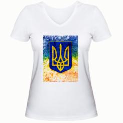 Жіноча футболка з V-подібним вирізом Герб України колір