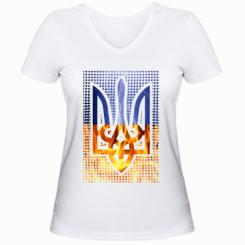 Жіноча футболка з V-подібним вирізом Герб України. Вогонь і Блискавки.