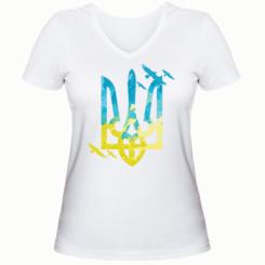 Жіноча футболка з V-подібним вирізом Герб з птахами