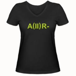 Жіноча футболка з V-подібним вирізом Група крові (2)А-