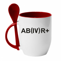 Кружка з керамічною ложкою Група крові (4) АВ +