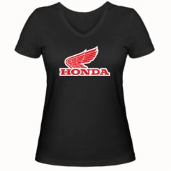 Купити Жіноча футболка з V-подібним вирізом Honda Vintage Logo