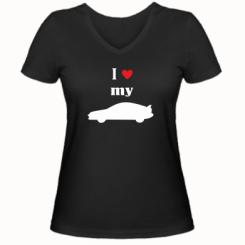 Купити Жіноча футболка з V-подібним вирізом I love my car
