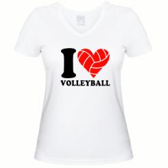 Купити Жіноча футболка з V-подібним вирізом I love volleyball