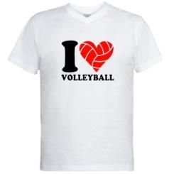 Купити Чоловічі футболки з V-подібним вирізом I love volleyball