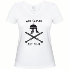 Купити Жіноча футболка з V-подібним вирізом Або Цезар, або ніщо