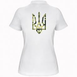 Купити Жіноча футболка поло Камуфляжний герб України
