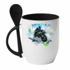 Кружка з керамічною ложкою Kawasaki Ninja Art