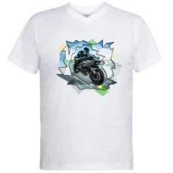 Чоловіча футболка з V-подібним вирізом Kawasaki Ninja Art