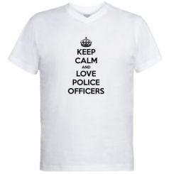 Чоловіча футболка з V-подібним вирізом Keep Calm and Love police officers
