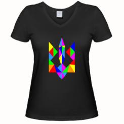 Купити Жіноча футболка з V-подібним вирізом Кольоровий герб