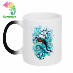 Кружка-хамелеон Корабель на хвилях