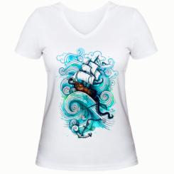 Жіноча футболка з V-подібним вирізом Корабель на хвилях