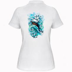 Жіноча футболка поло Корабель на хвилях