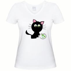 Купити Жіноча футболка з V-подібним вирізом Кішечка і акваріум