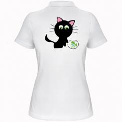 Купити Жіноча футболка поло Кішечка і акваріум