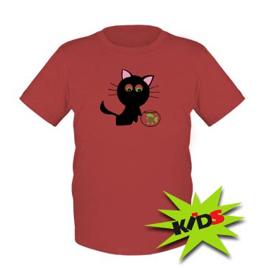 Купити Дитяча футболка Кішечка і акваріум