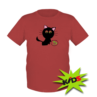 Детская футболка Кошечка и аквариум