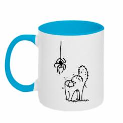 Кружка двокольорова Кіт та павук