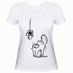 Жіноча футболка з V-подібним вирізом Кіт та павук