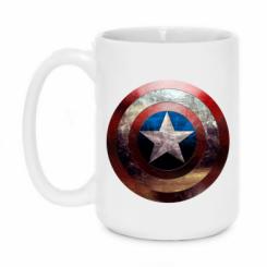 Кружка 420ml Потрескавшийся щит Капитана Америка