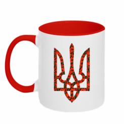 Купити Кружка двокольорова Герб України з маками