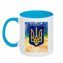 Кружка двокольорова Герб України колір