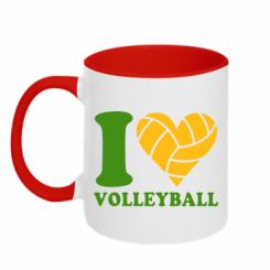 Купити Кружка двокольорова I love volleyball