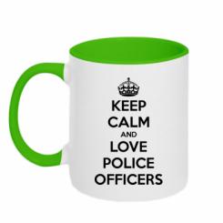 Кружка двокольорова Keep Calm and Love police officers