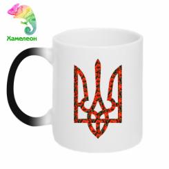 Купити Кружка-хамелеон Герб України з маками