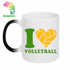 Купити Кружка-хамелеон I love volleyball