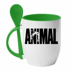 Кружка с керамической ложкой Animal Powerlifting