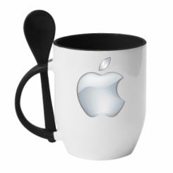 Кружка с керамической ложкой Apple Silver